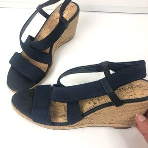 Merona Navy Blue Strappy Rope Wedge Heel size 9